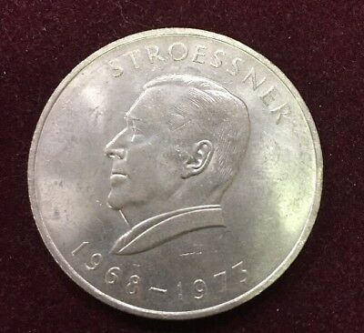 1973  Paraguay Silver 300 Guaranies Stroessner Coin