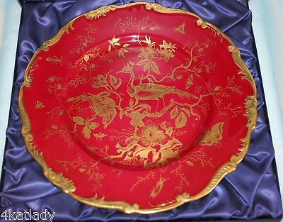 Gorgeous Vint Coalport bone china dinner plate-10.5in, in box - Cairo - Maroon