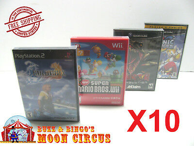10X PS2 XBOX Wii Wii U GAMECUBE CLEAR PROTECTIVE BOX PROTECTORS - FREE SHIPPING!