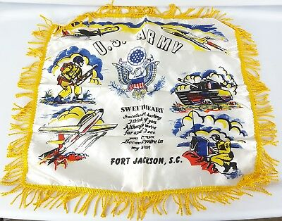 VTG WWII US Army Air Forces fort Jackson, SC Sweetheart Pillow shwm case Cover