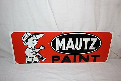 """Vintage 1960's Mautz Paint Hardware Store Gas Oil 2 Sided 28"""" Metal Sign~Nice"""