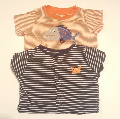 Lot of 2 Carter's Baby Boy Size 9 Months One Piece Snap Romper. Striped.