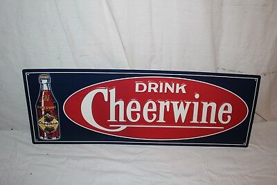 "Drink Cheerwine Soda Pop Bottle Gas Station 28"" Embossed Metal Sign~Nice"