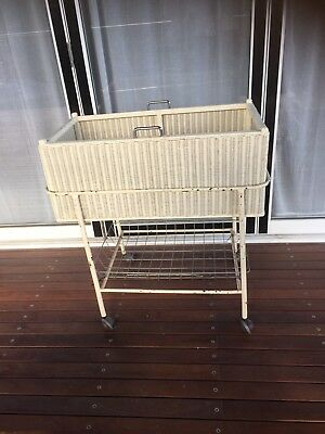 Vintage Cane Basket Bassinette Bassinet Trolley Cot Gr8 For Laundry Storage