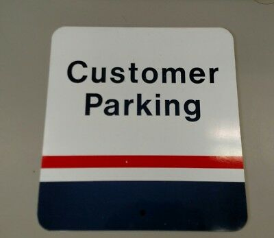 "Vintage Metal Red and White Post Office Customer Parking Sign 13 1/2"" x 12 1/2"""