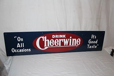 "Large Vintage Cheerwine Soda Pop Gas Station 48"" Embossed Metal Sign~Nice"