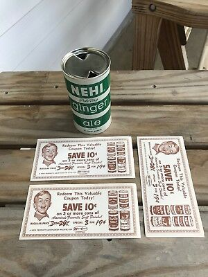 NEHI Ginger Ale Flat Top Soda Can with Old Coupons SUPER CLEAN! Vintage Retro