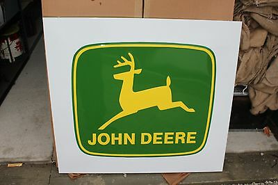 "Vintage John Deere Farm Tractor Dealership 42"" Embossed Metal Sign W/Box~Nice"