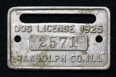 Vintage Dog License Tag Tax 1925 Aluminum Randolph Co Illinois!! #2571