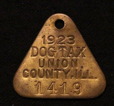 Vintage Dog License Tag Tax 1923 Brass Union Co Illinois #1419