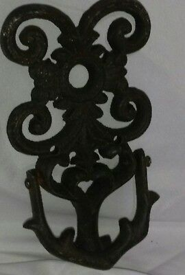 Vintage Victorian Style Scroll Cast Iron Door Knocker with peephole opening
