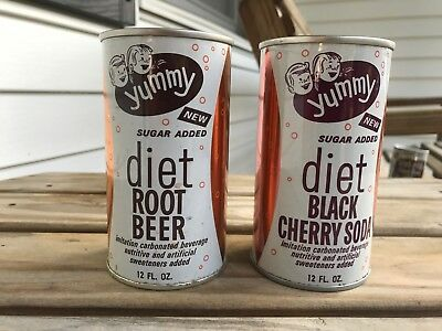 2 Yummy Diet Pull Top Soda Cans Root Beer Black Cherry SUPER CLEAN! Vintage