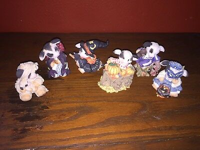 Lot 6 Halloween Mary's Moo Moos Cow Figurines In Costumes 1990's