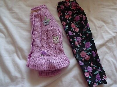 Girls Toddler 24 Month 2T Lot Button-up Sweater Pants Pink Purple Floral