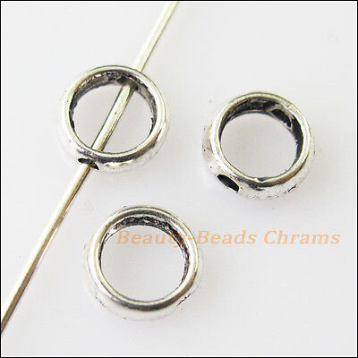 50Pcs Antiqued Silver Tone Tiny Round Spacer Beads Frame Charms 6mm