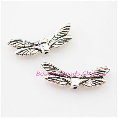 10Pcs Tibetan Silver Animal Dragonfly Wings Spacer Beads Charms 7x20mm