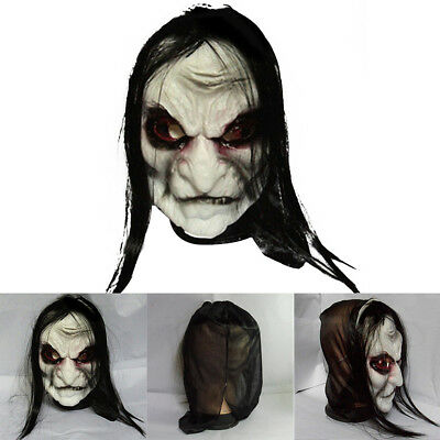 Black Long Hair Latex Mask Halloween Scary Fancy Party Costume Cosplay Dress New