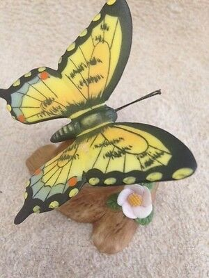 Delicate Porcelain Butterfly Figurine,  Easter Tiger Swallowtail, EUC