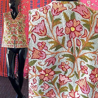 Antique Embroidered Jacket Chain Stitch Silk Wool Floral Embroidery Collector