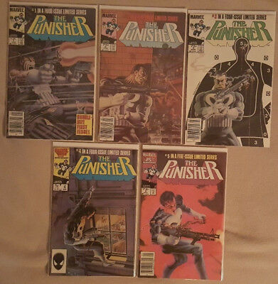 The Punisher #1-5 (1986, Marvel) First Solo Series! Very Nice Conditio Mike Zeck