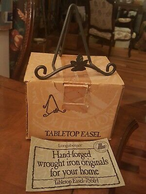 New Longberger Retired Wrought Iron Tabletop Easel 75604 Maple Leaf Hand Forged