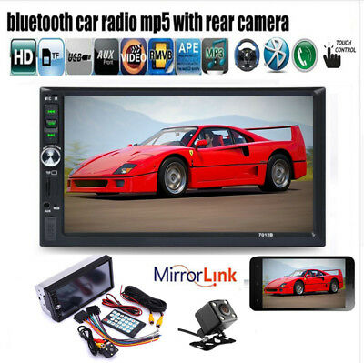 "7"" Car Radio Stereo Bluetooth MP3/MP5 Player Touch Screen AUX/Remote+Camera 2DIN"