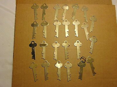 Vintage LOT OF 25 Brass Diebold and unmarked Safe Deposit box Lock Keys-Lot- 4