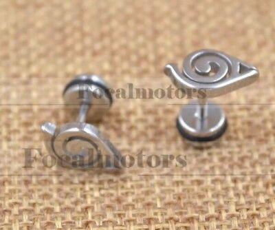 Naruto Leaf Village Pair Of Stud Earrings Silver 1cm Anime Cosplay US Seller