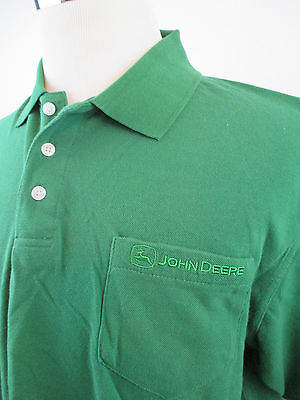 NWT Men's John Deere Front Pocket Green Polo Shirt Sz Large John Deere Polo
