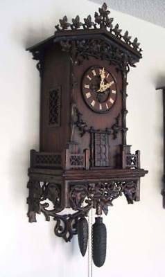 Antique Black Forest Clock, not Cuckoo,  WEHRLE 4-HORN TRUMPETER , 2-TUNE, RARE!