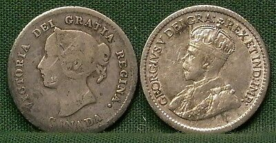 1874-H & 1916 Canada Silver 5 Cents G-F Details