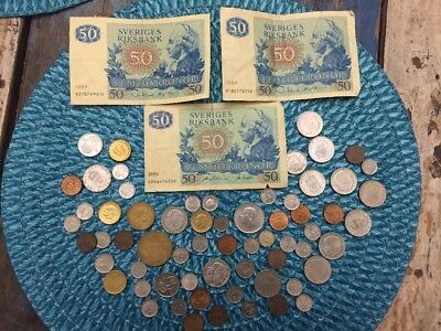 67 Swedish Norway Denmark Coin Lot With Paper Money
