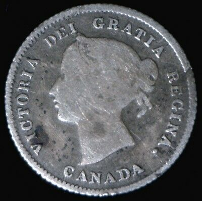 1875-H Large Date Canada Silver 5 Cents VG Details