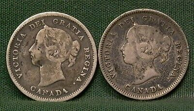 1887 & 1889 Canada Silver 5 Cents G-F Details