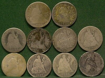Lot of 10 Different Seated Liberty Dimes Low Grade