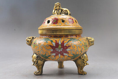 exquisite Chinese hand carved Cloisonne Incense burner xuande mark r475