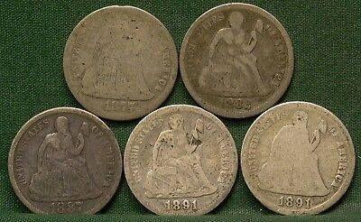 Lot of 5 Seated Liberty Dimes 1877-CC, 1882, 1887, 1891, 1891-S Low Grade