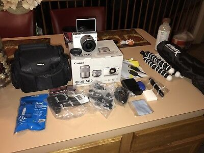 Canon EOS M10 Mirrorless Digital Camera W/ 15-45mm Lens (White) BUNDLE