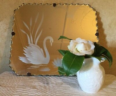 VINTAGE PIE CRUST BEVELLED EDGE MIRROR WITH SWAN & WATER LILLY So Sweet!