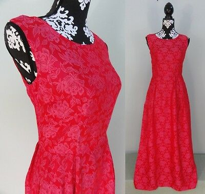 Vtg 60s Pink Evening Gown Dress Floral Brocade Sheath Sleeveless Maxi Party S