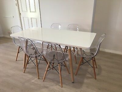 Scandinavian Dining Set - Table & 6 Chairs - As New