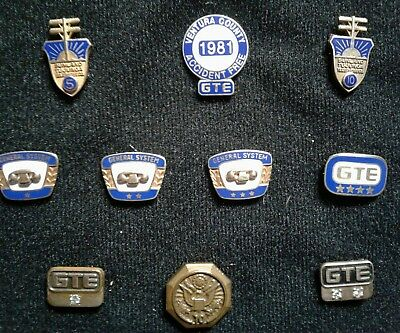 Lot of 9 Vintage GTE  Pins  7 are 10k gold filled General Telephone & Electric