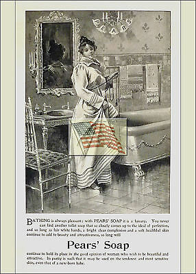 REPRINT PICTURE of 1896 WOMAN READY FOR BATHING IN TUB old PEARS' SOAP ad 5x7