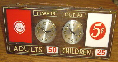 "Rare Coca-Cola Swimming Pool Children & Adult Tally Sessions Clocks Sign 20"" Nr"