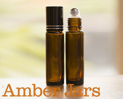 20 x 10ml Amber Glass Roller Ball Bottles roll on Aromatherapy Perfume Lip Gloss