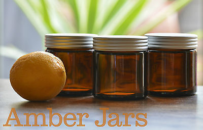 4 x 120ml Amber Glass Cosmetic Jar - grooved Matt Silver Lid-Candles spice jar