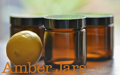4 x 120ml Glass Amber Jars with Black Wadded Lid. DIY Cosmetics Candles Spices
