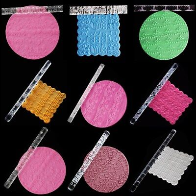 Textured Embossing Acrylic Rolling Pin Cake Decorating Fondant Tools 30 Styles