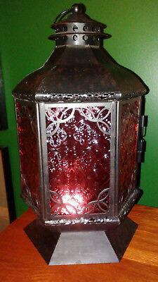 Spanish Gothic Black Wrought Iron Lantern Candle Holder Light Fixture Red Glass