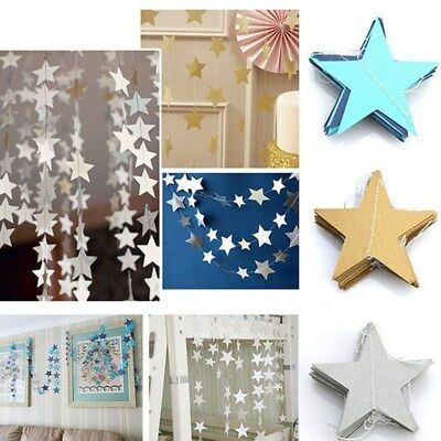 2M / 4M Star Paper Garland Bunting Banner Party Wedding Baby Shower Decor NEW
